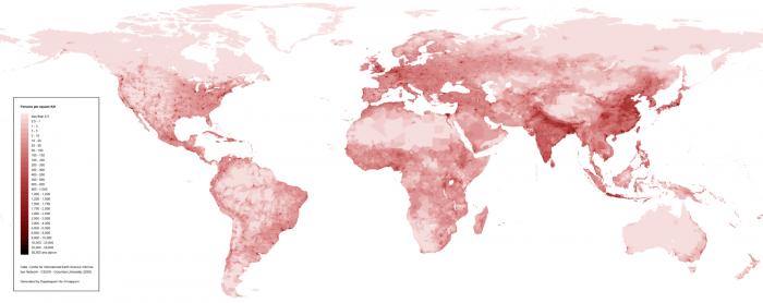 Population density map. Credit: Wikipedia