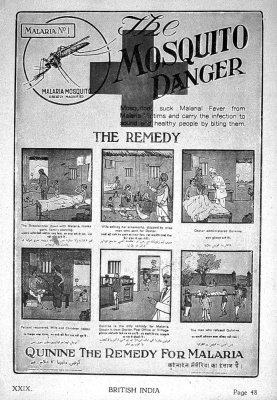 An ad of quinine, another antimalaria drug, in 1927. Image (https://en.wikipedia.org/wiki/Malaria#/media/File:%22British_India%22,_six_stages_of_malaria._Wellcome_L0022443.jpg) by  https://wellcomecollection.org/works/xce2v52p is licensed under CC-BY-4.0 (https://creativecommons.org/licenses/by/4.0/)