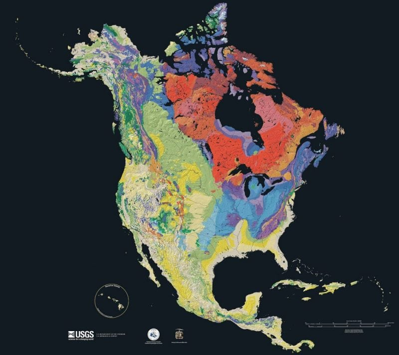 Age of the bedrock underlying North America, from red (oldest) then blue, green, and yellow (newest). (USGS)