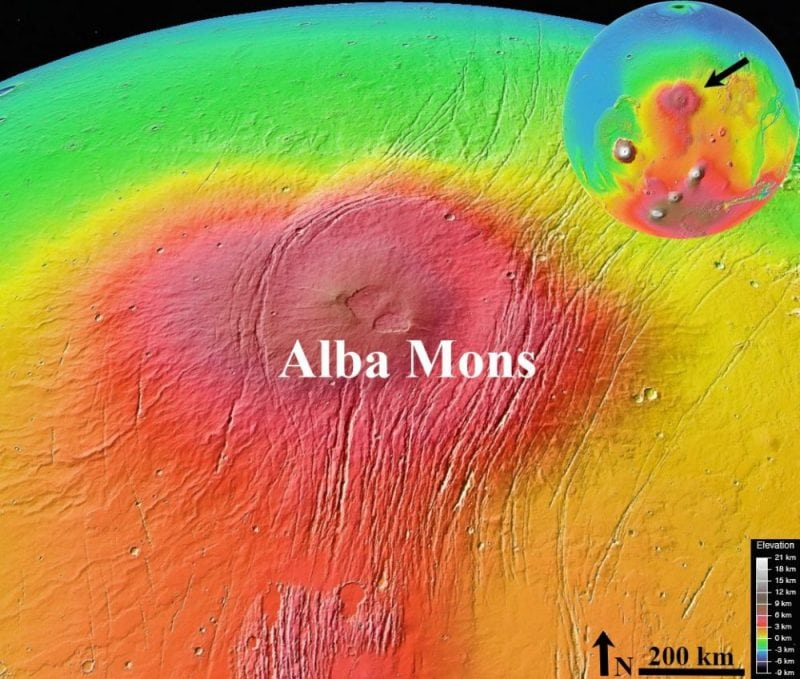 Alba Mons region in the northern middle latitude of Mars. Credit: MGS MOLA/NASA/Google Earth.
