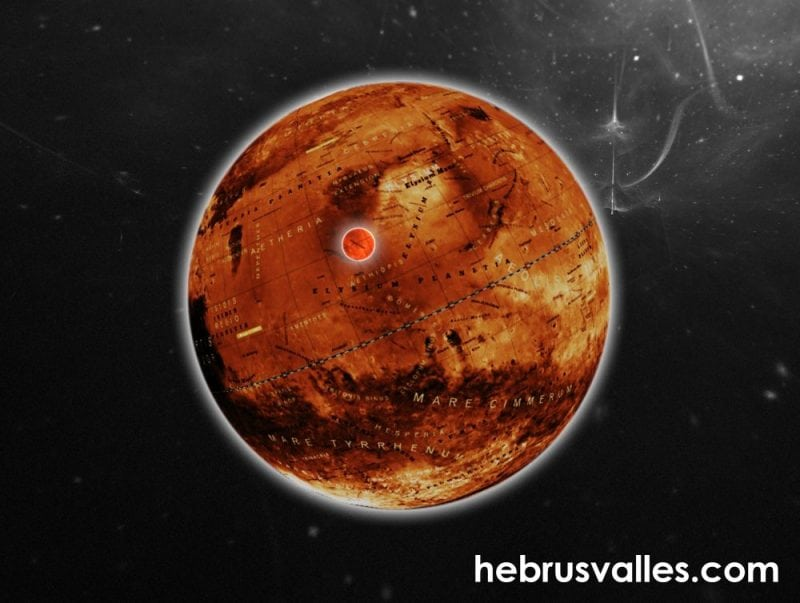 Hebrus Valles area on the globe of Mars. (Hebrusvalles.com)