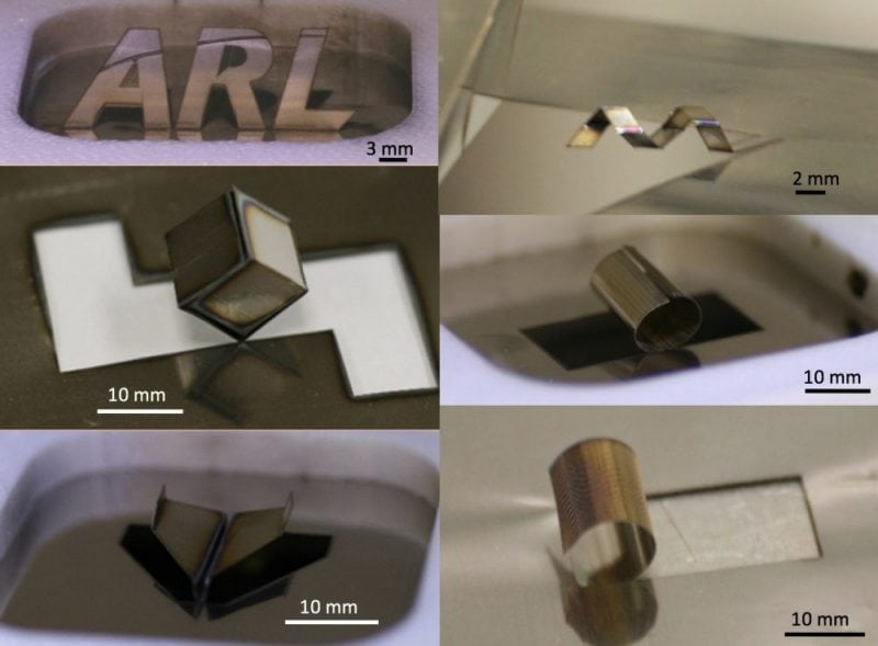 Laser forming origami examples from Nathan Lazarus and the Army Research Laboratory