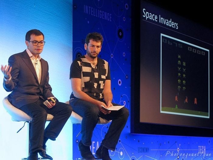 Google Deepming head Demis Hassabis (left) talks about artificial intelligence. Photo: PhOtOnQuAnTiQuE from  Earth France via Wikimedia Commons, CC 2.0