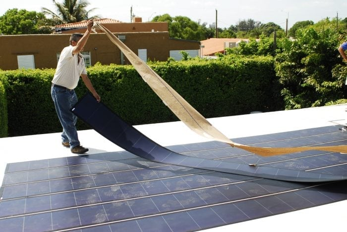 """Thin Film Flexible Solar PV Installation"" (https://commons.wikimedia.org/wiki/File:Thin_Film_Flexible_Solar_PV_Installation_2.JPG) by 	Fieldsken Ken Fields via Wikimedia Commons is licensed under the Creative Commons Attribution-Share Alike 3.0 Unported license. (https://creativecommons.org/licenses/by-sa/3.0/deed.en)"