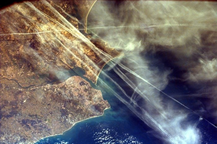 Contrails over Lisbon, Portugal (credit: jpl.nasa.gov)