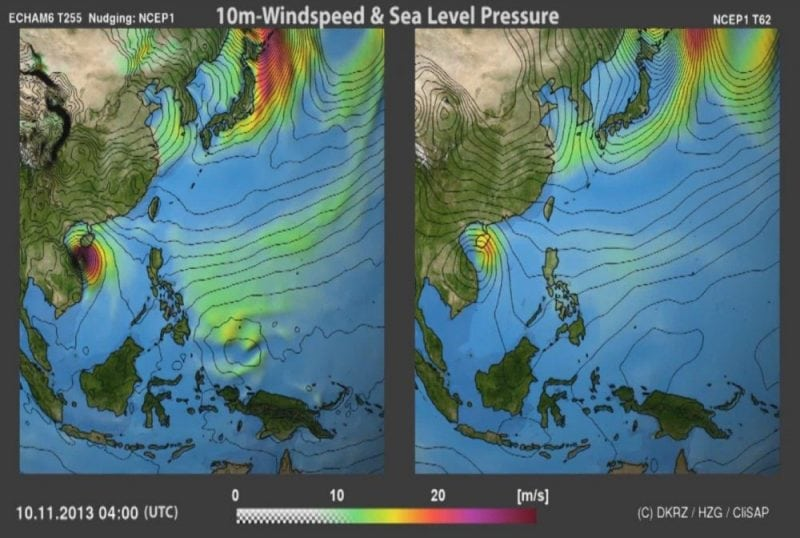 Analysis of 10 November 2014 according to the coarse-grid NCEP-reanalysis (right) and to the globally downscaling (left). Note the additional regional detail in the downscaled maps. ©D. Spickermann, DKRZ