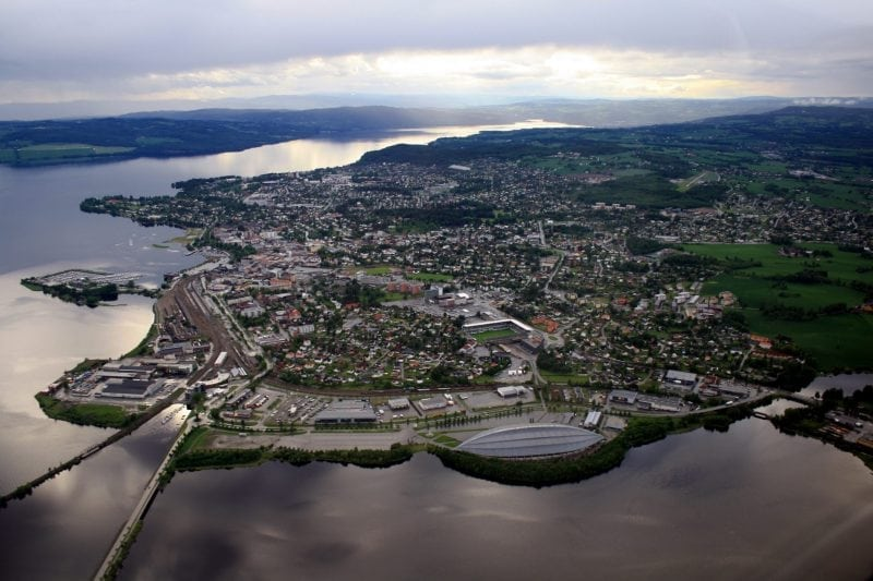 Aerial view of Hamar, Norway (credit: Wikimedia Commons)