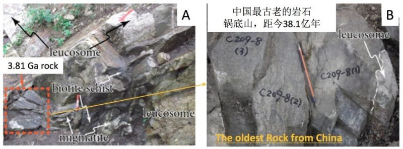 Field photographs illustrating the relationship of the oldest rock (3.81 Ga)  at the Guodishan location, Anshan Complex, North China Craton. Republished with permission from Elsevier from https://doi.org/10.1016/j.precamres.2017.09.001