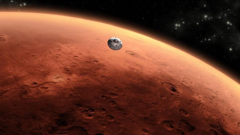 Artist's concept of Curiosity approaching Mars. Image from Wikipedia