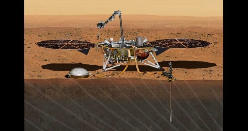 Artist's concept of the NASA's InSight lander with the two main instruments deployed: the seismometer (left) and the heat flow probe (right). Image credit: NASA/JPL-Caltech