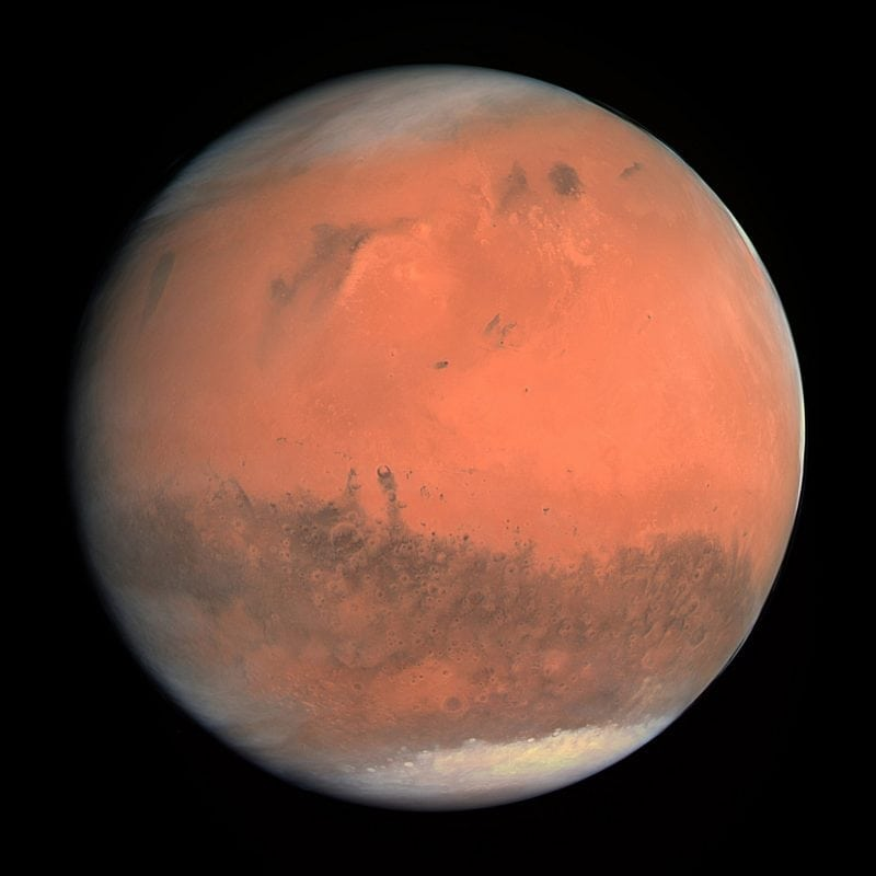 """""""OSIRIS Mars true color"""" (https://en.wikipedia.org/wiki/File:OSIRIS_Mars_true_color.jpg) by ESA - European Space Agency & Max-Planck Institute for Solar System Research for OSIRIS Team ESA/MPS/UPD/LAM/IAA/RSSD/INTA/UPM/DASP/IDA via Wikimedia Commons is licensed under the Creative Commons Attribution-ShareAlike 3.0 IGO license. https://creativecommons.org/licenses/by-sa/3.0/igo/deed.en"""