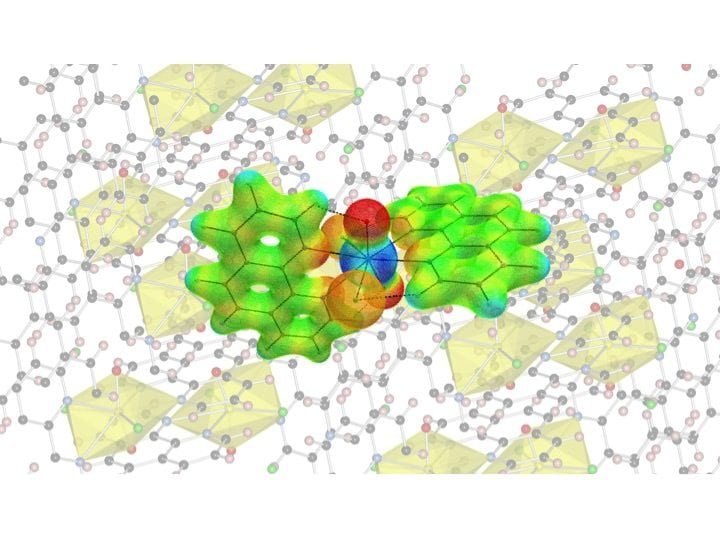 Figure showing the crystal/molecular structure of the compound [UO2Cl2(phen)2]. Credit: A. Ikeda-Ohno/HZDR