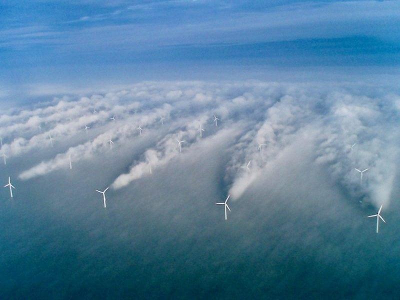 Offshore windmills creating wind shear (Credit: NOAA)