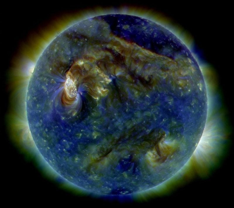 The sun viewed under false-color ultraviolet image. Credit: Image by NASA is licensed under CC0