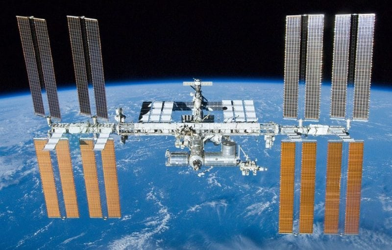 The International Space Station in 2010. Picture taken by the departing space shuttle Atlantis. Credit: WikiCommons