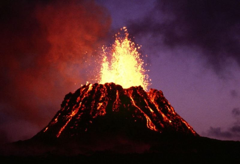 Pu'u O'o, an active cinder cone in Hawaii. WikiCommons