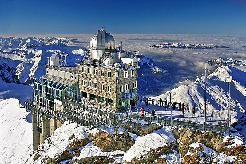 The Sphinx Observatory is a high-altitude (3571 m) research station in the Bernese Alps, Switzerland that is used for ground-truthing atmospheric models. Photo By Julius Silver from https://commons.wikimedia.org