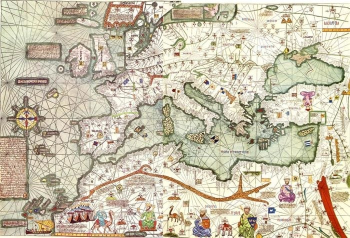 A part of the Catalan Atlas that was created by Majorca's cartographer Abraham Cresques (Wikipedia)