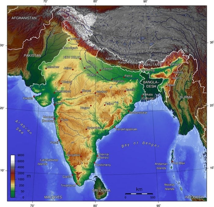 Image https://commons.wikimedia.org/wiki/File:India_topo_big.jpg Generic Mapping Tools: http://gmt.soest.hawaii.edu/ via Wikimedia Commons is licensed under CC-BY-SA 3.0 https://creativecommons.org/licenses/by-sa/3.0/deed.en