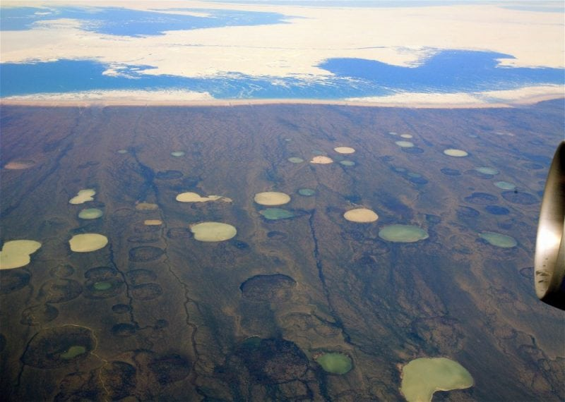 Permafrost thaw ponds in Hudson Bay Canada. Credit: Steve Jurvetson/Flickr