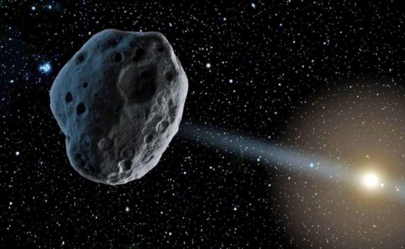 Artist's conception of an asteroid orbiting the Sun. (Credit: NASA/JPL)