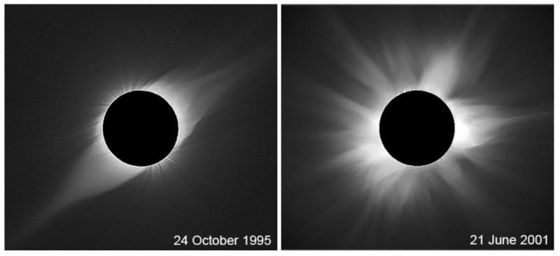 Figure 1: Two samples of the observed shape of the solar corona at the minimum (left) and maximum (right) phase of the solar cycle.