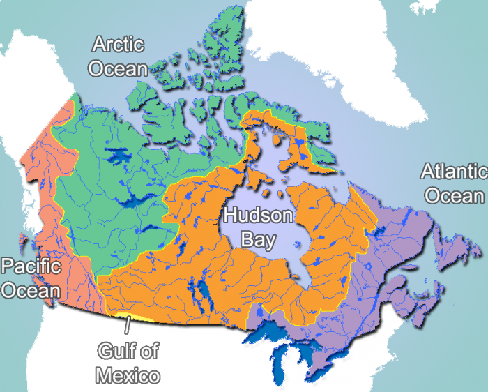 Bodies Of Water Canada Map.10 Canadian Provinces And 3 Canadian Territories Map And List