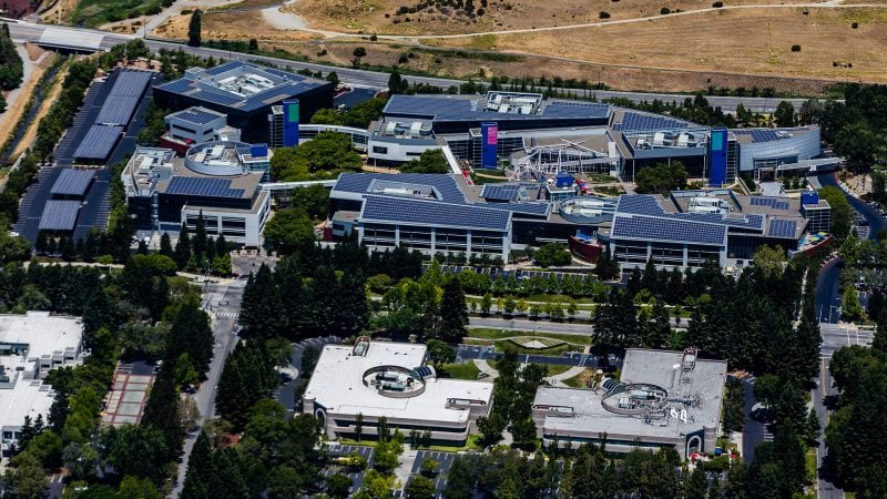 Google's Mountain View, CA campus. Photo: By Austin McKinley - Own work, CC BY 3.0, https://commons.wikimedia.org/w/index.php?curid=26332560