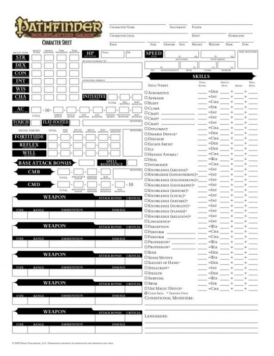 picture about Pathfinder Character Sheet Printable named Pathfinder Persona Sheet With PDF Science Traits