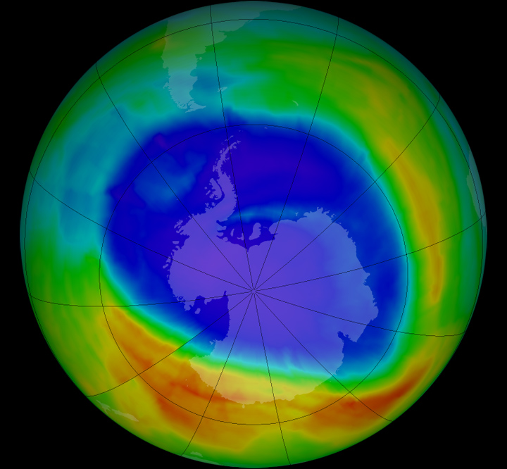 Rendering of ozone coverage over the antarctic in september of 2014. Photo: NASA, Public Domain