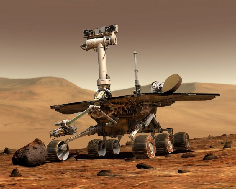 This is an artist's rendering of NASA's Mars rover Spirit, however, Spirit and Opportunity are twins and look exactly alike. Image source: Wikipedia