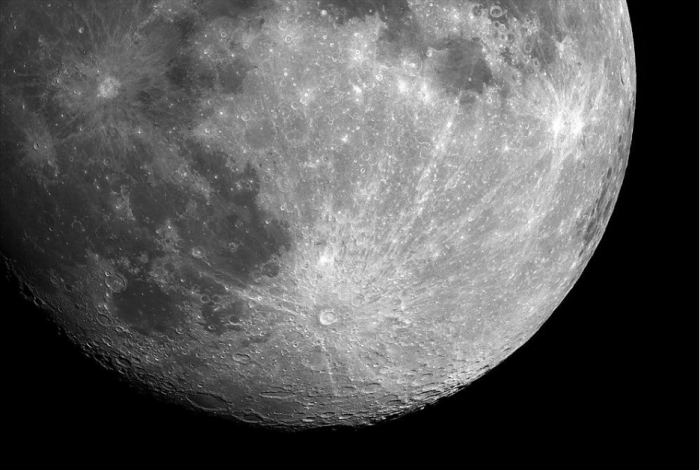 Tycho Crater's (bottom middle) bright rays stretch across the entire surface of the Moon. Image credit: NASA