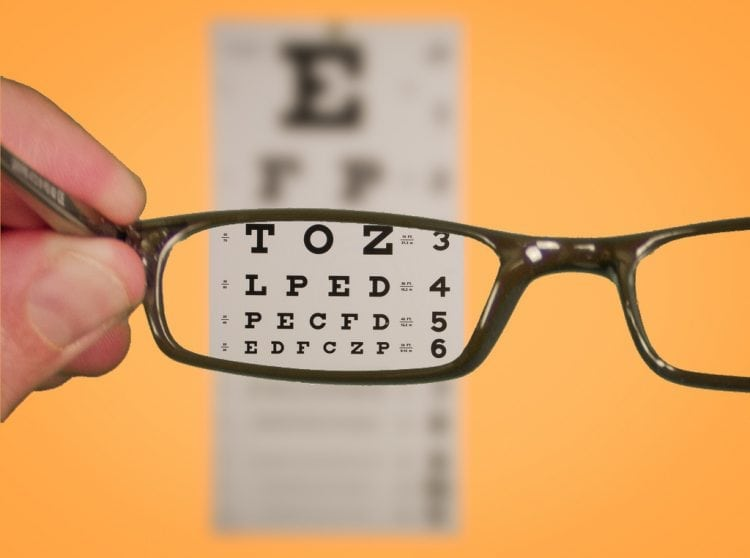"""""""Vision Of Eyechart With Glasses"""" by Ken Teegardin ( www.AssistedSeniorLiving.net) via Flickr, is licensed under CC BY-SA 2.0"""