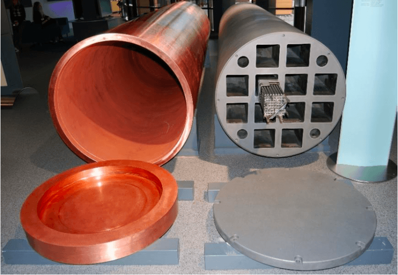 Figure 2 - The copper canister and the iron insert as planned in the Swedish and Finnish repository design. Credit: WikiCommons
