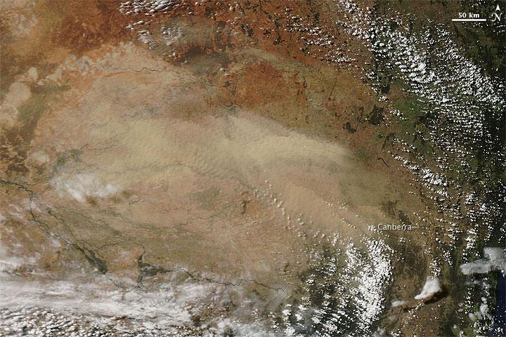 Dust storm in southeastern Australia. Credit: NASA Earth Observatory