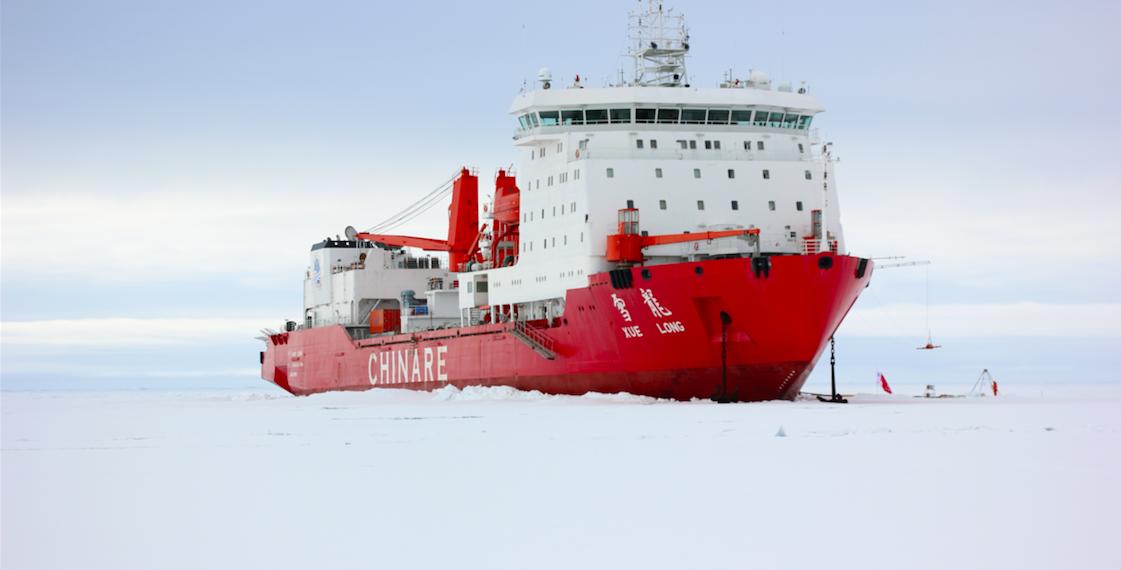 The R/V Xuelong docked in sea ice. Image credit: Qingkai Wang