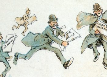 """Reporters with various forms of ""fake news"" from an 1894 illustration by Frederick Burr Opper"" via Wikimedia Commons is under public domain"
