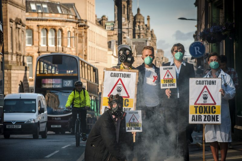 """Activists gather to demand clean air as Edinburgh Air Pollution Zone to be expanded."" by MAVERICK PHOTO AGENCY and Friends of the Earth Scotland (via Flickr) is licensed under CC BY 2.0"