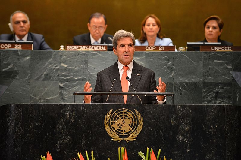 U.S. Secretary of State John Kerry participates in the event on the UN Paris Agreement Entry into Force at the United Nations, in New York City, New York on September 21, 2016. [State Department Photo/Public Domain]