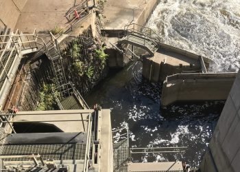 A fish lift in Holyoke Dam in USA. Credit: Lu Cai