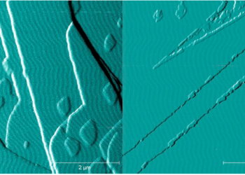 Figure 1. Atomic force microscope image of the (001) barium sulfate surface growing in (a) the absence of oxalate and (b) in the presence of oxalate. Image republished with permission from Elsevier from https://doi.org/10.1016/j.jcrysgro.2018.06.014