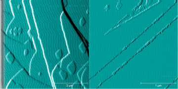 Figure 1. Atomic force microscope image of the (001) barium sulfate surface growing in (a) the absence of oxalate and (b) in the presence of oxalate. Image republished with permission from Elsevier fromhttps://doi.org/10.1016/j.jcrysgro.2018.06.014