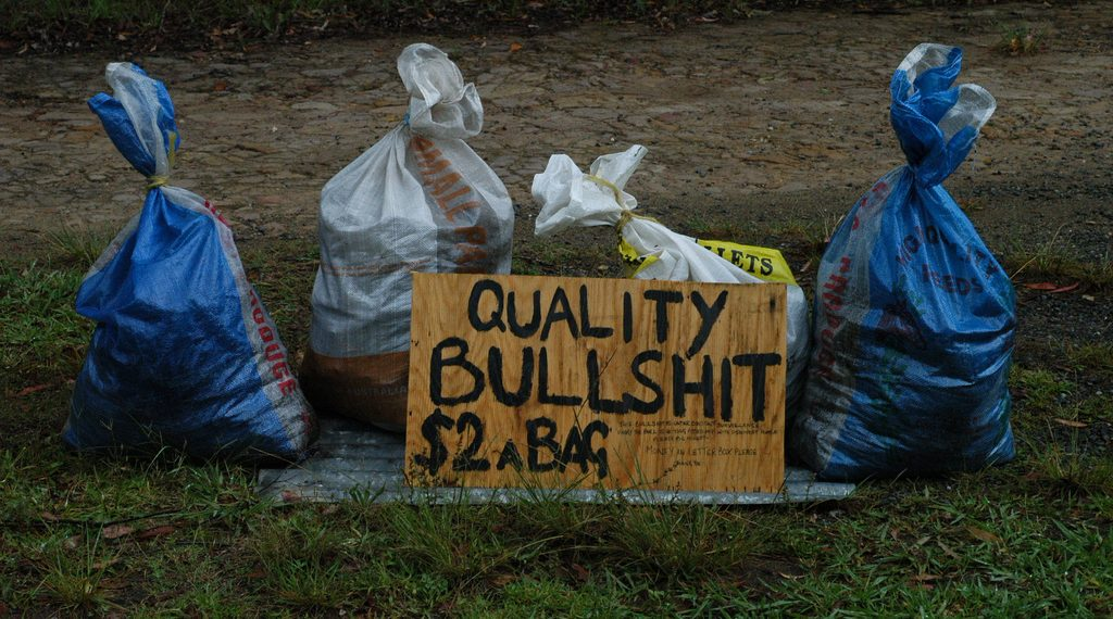 """""""Quality Bullshit"""" by Doug Beckers via Flickr, is licensed under CC BY-SA 2.0"""