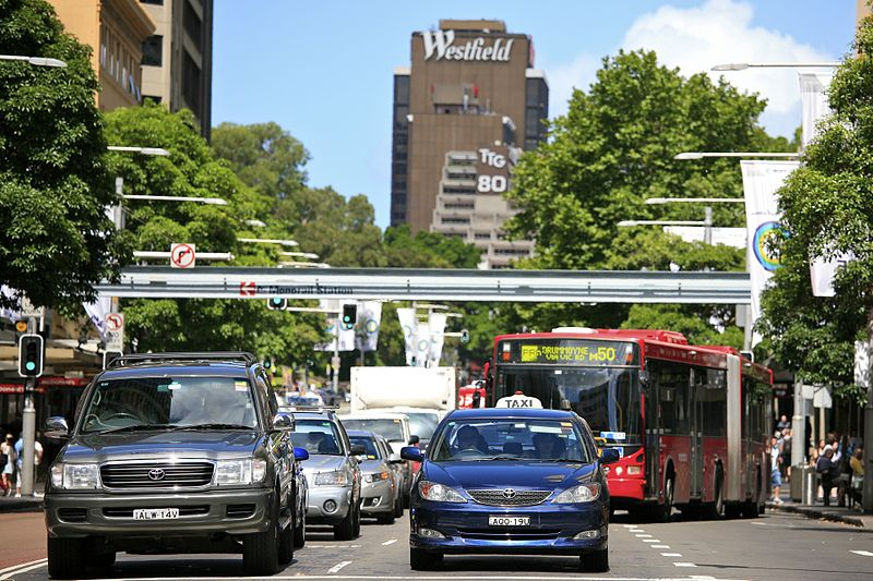 """""""Sydney City Traffic"""" by Alex Proimos via Wikimedia Commons is licensed under the Creative Commons Attribution 2.0 Generic license."""