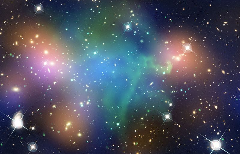 """""""Dark Matter and Galaxies Part Ways in Collision between Hefty Galaxy Clusters """" by the Smithsonian Institution via Wikimedia Commons is licensed under CC0"""