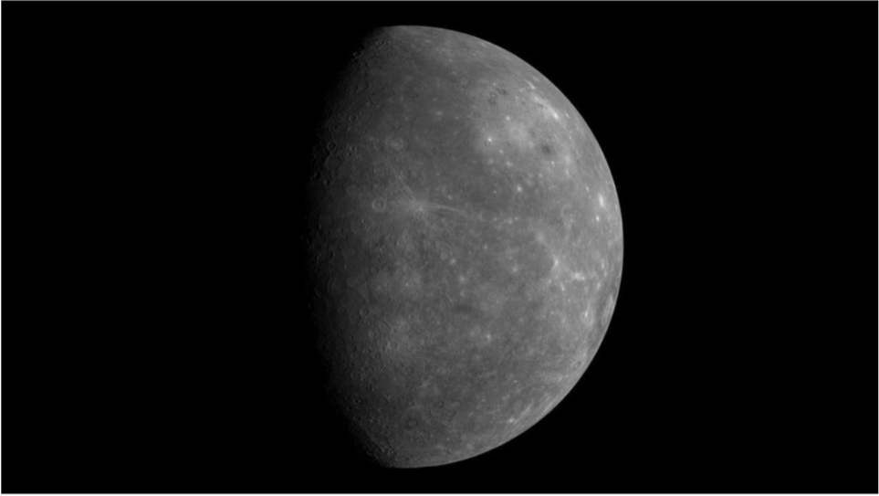 Figure 1: Mercury as seen during one of the MESSENGER flybys in 2008. The mosaic is composed of hundreds of single images. Image credit: NASA/Johns Hopkins University APL/Carnegie Institution of Washington/DLR. Image is licensed under CC0