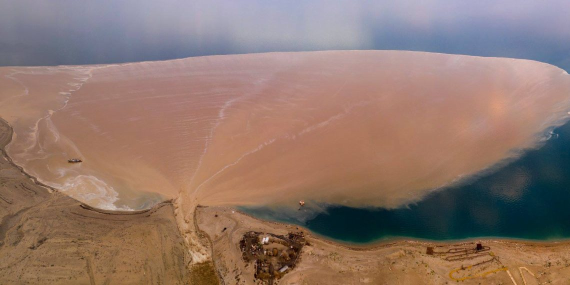 """Soils flushed to the Dead Sea via the Arugot gully""""  Credit: Amir Aloni - Aerial photography (https://www.facebook.com/alonialoni/)"""