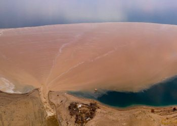 "Soils flushed to the Dead Sea via the Arugot gully""  Credit: Amir Aloni - Aerial photography (https://www.facebook.com/alonialoni/)"